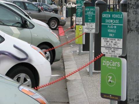 Electric vehicles charging in a parking lot