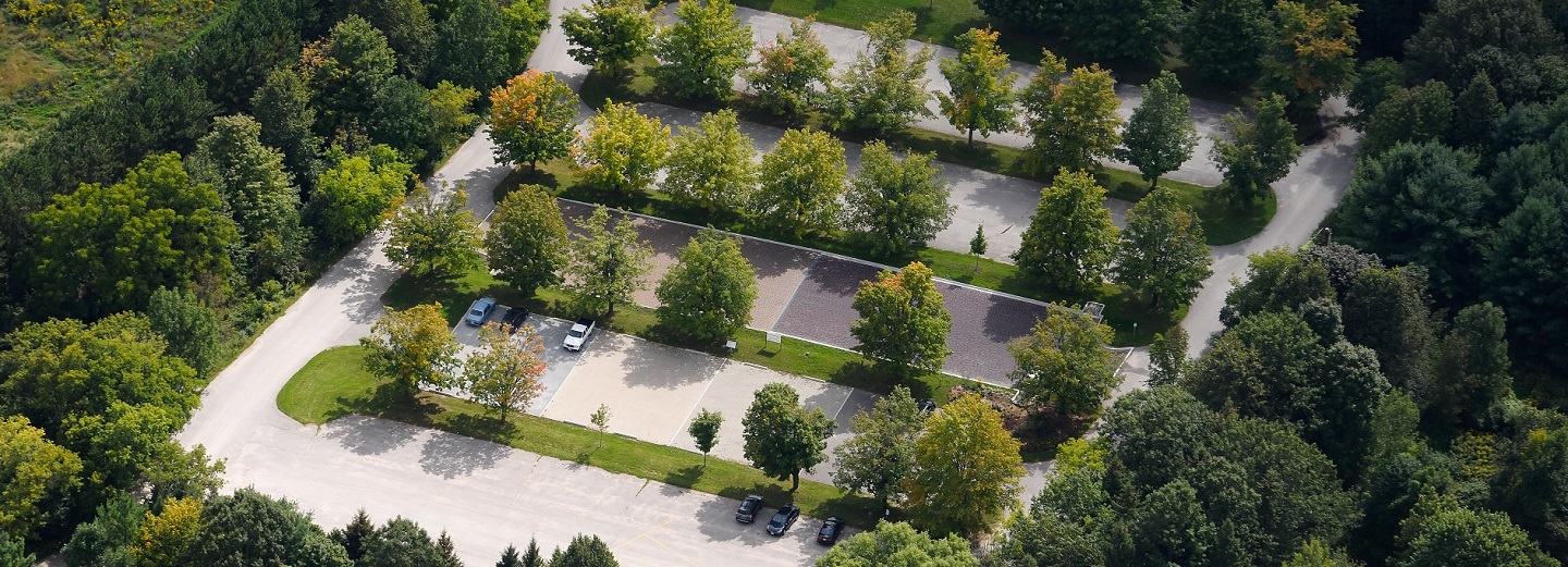 aerial view of green parking lot at Kortright Centre