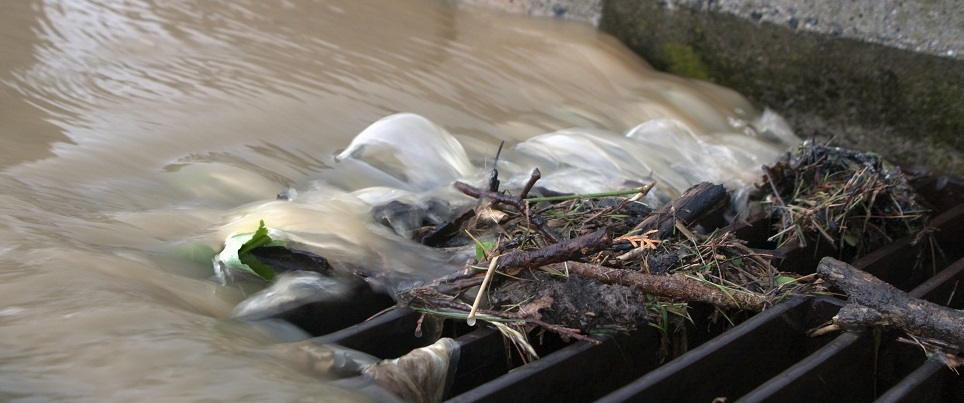 stormwater flows into storm drain